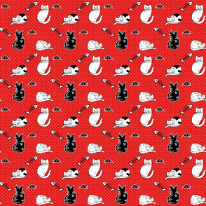 Black and Red Cat Pattern