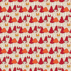 Fall Mushroom Pattern on Taupe