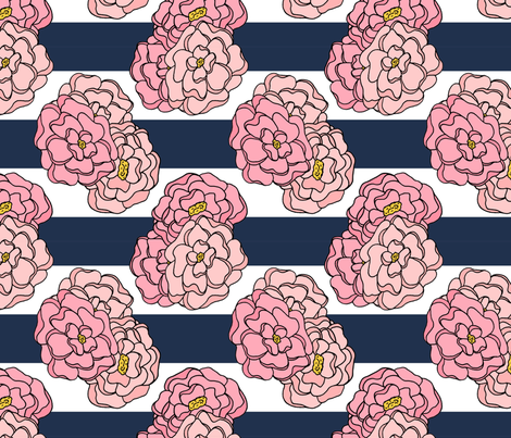 Pink Peony Floral on Navy and White Stripes fabric by northern_whimsy on Spoonflower - custom fabric