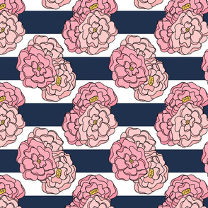 Pink Peony Floral on Navy and White Stripes