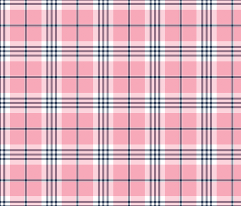 Pink, White, and Navy Blue Plaid fabric by northern_whimsy on Spoonflower - custom fabric