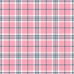 Pink, White, and Navy Blue Plaid
