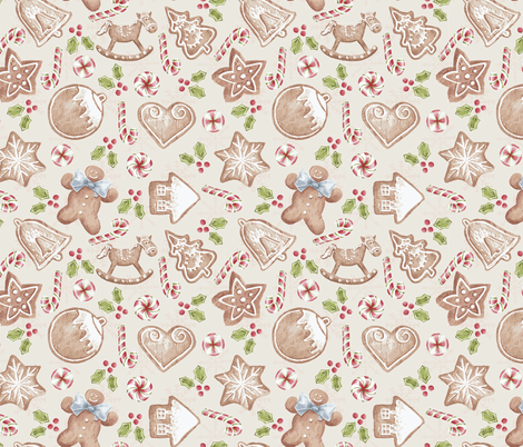 Gingerbread - cream fabric by ibi_kessenich on Spoonflower - custom fabric