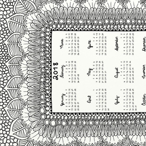 Black and White Doodle Tea Towel