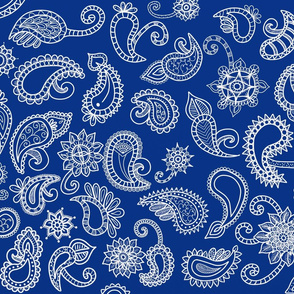 Blue Paisley Tea Towel