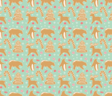 Gingerbread and Mint fabric by spottedfox on Spoonflower - custom fabric