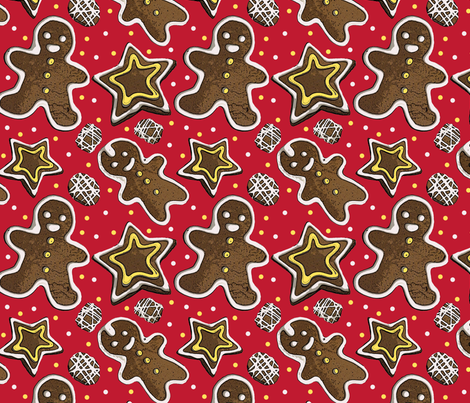 Gingerbread on red fabric by leroyj on Spoonflower - custom fabric