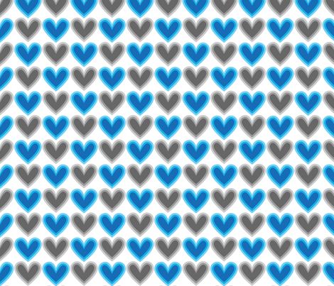 Hearts Beat Blue Pattern fabric by kristykate on Spoonflower - custom fabric