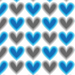 Hearts Beat Blue Pattern