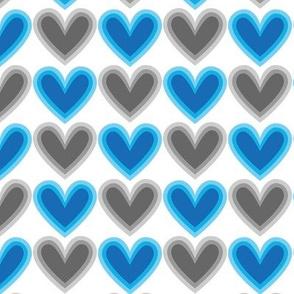 Hearts Beat Blue Pattern