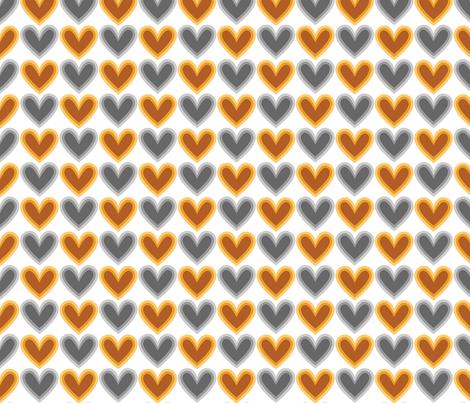 Hearts Beat Gold Pattern fabric by kristykate on Spoonflower - custom fabric