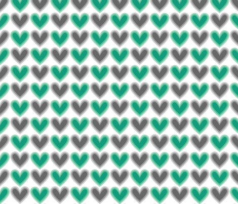 Hearts Beat Green Pattern fabric by kristykate on Spoonflower - custom fabric