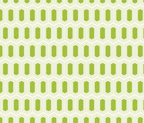 Elongated Hexagon Geometric Pattern (Fill Green & Grey on White) fabric by kristykate on Spoonflower - custom fabric