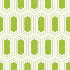 Elongated Hexagon Geometric Pattern (Fill Green & Grey on White)