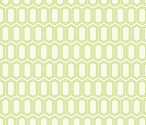 Elongated Hexagon Geometric Pattern (Line Green on White) fabric by kristykate on Spoonflower - custom fabric