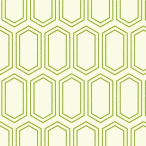 Elongated Hexagon Geometric Pattern (Line Green on White)
