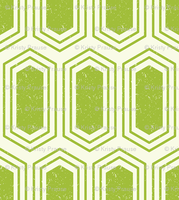Elongated Hexagon Geometric Pattern (Fill Green on White)
