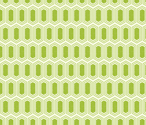 Elongated Hexagon Geometric Pattern (Fill Green on White) fabric by kristykate on Spoonflower - custom fabric