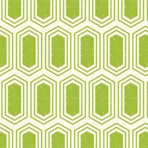 Elongated Hexagon Geometric Pattern (Fill Green on White)