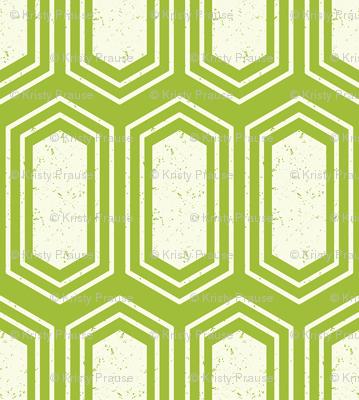 Elongated Hexagon Geometric Pattern (Fill White on Green)