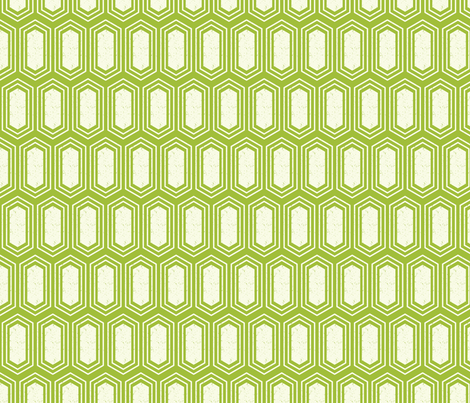Elongated Hexagon Geometric Pattern (Fill White on Green) fabric by kristykate on Spoonflower - custom fabric