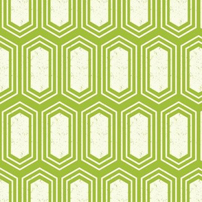 Elongated Hexagon Geometric Pattern (Fill White on Green)