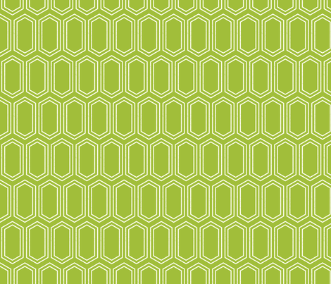 Elongated Hexagon Geometric Pattern (Line White on Green) fabric by kristykate on Spoonflower - custom fabric
