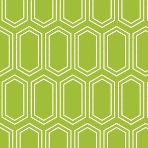 Elongated Hexagon Geometric Pattern (Line White on Green)