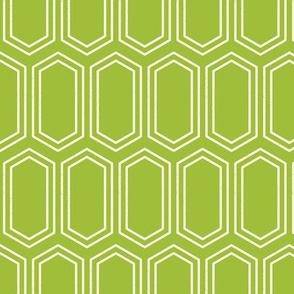 Elongated Hexagon Geometric Pattern (Line White on Green)