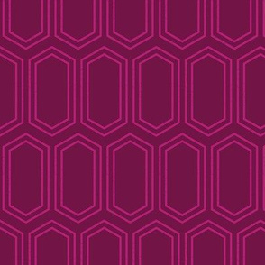 Elongated Hexagon Geometric Pattern (Line Magenta on Deep Red)