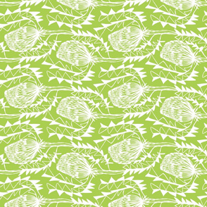 Birds Nest Banksia Tea Towel Fat Quarter Lime