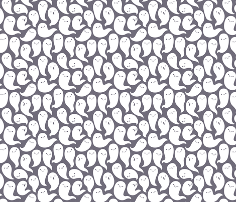 Friendly Ghosts (Dark Grey) fabric by kristykate on Spoonflower - custom fabric