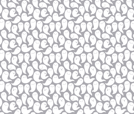 Friendly Ghosts (Light Grey) fabric by kristykate on Spoonflower - custom fabric