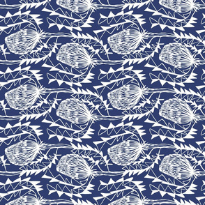 Birds Nest Banksia Tea Towel Fat Quarter Blue