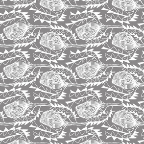 Birds Nest Banksia Tea Towel Fat Quarter Grey