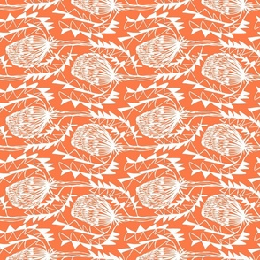 Birds Nest Banksia Tea Towel Fat Quarter Orange