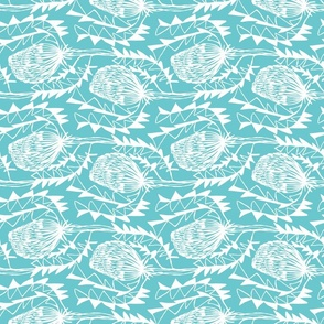 Birds Nest Banksia Tea Towel Fat Quarter Turquoise