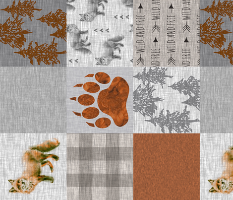 Fox Forest - Rust, tan and Grey - rotated fabric by sugarpinedesign on Spoonflower - custom fabric