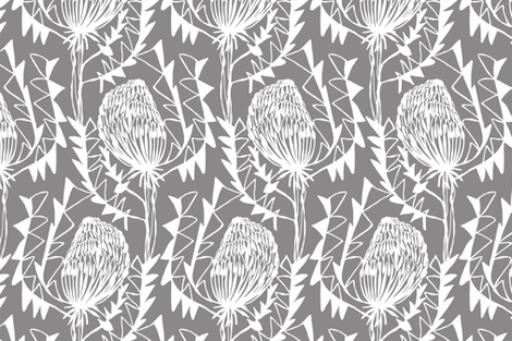BIRDS_NEST_BANKSIA_2GREY-SF fabric by kirstenkatz on Spoonflower - custom fabric
