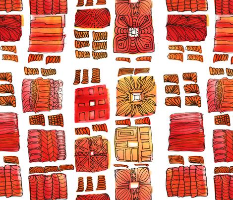 Red & Black Medallion  fabric by backyarddesigner on Spoonflower - custom fabric