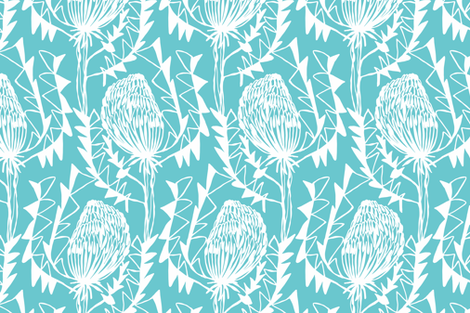 BIRDS_NEST_BANKSIA_2TURQUOISE-SF fabric by kirstenkatz on Spoonflower - custom fabric