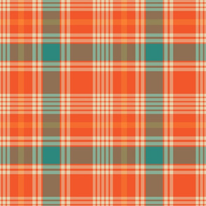 Orange and Teal Plaid