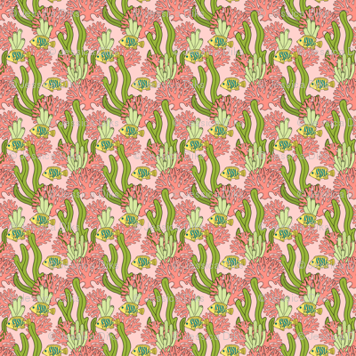 Coral and Fish on Pink