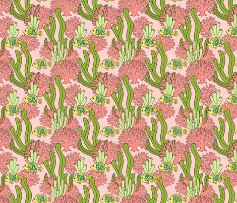 Coral and Fish on Pink fabric by northern_whimsy on Spoonflower - custom fabric