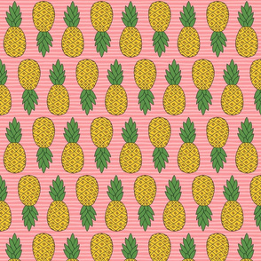 Pineapples on Pink Stripes