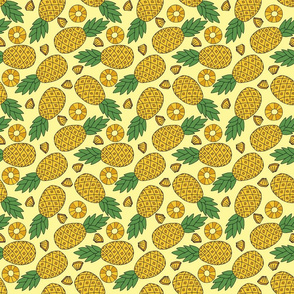 Pineapples and Slices on Yellow