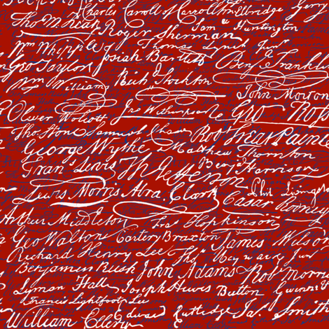 Signers of The Declaration of Independence _ Turkey Red_ White_ and Willow Ware Blue _ Peacoquette Designs _ Copyright 2017 fabric by peacoquettedesigns on Spoonflower - custom fabric