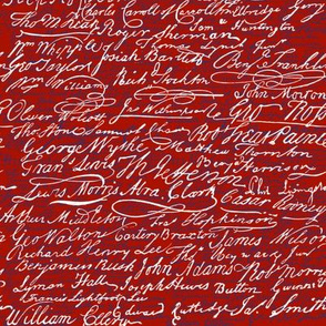 Signers of The Declaration of Independence _ Turkey Red_ White_ and Willow Ware Blue _ Peacoquette Designs _ Copyright 2017