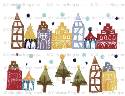 Snowy German Christmas Village