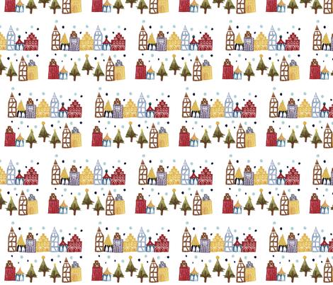 Snowy German Christmas Village fabric by minamocca on Spoonflower - custom fabric